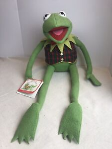 "Vintage Muppets Kermit the Frog Eden Toys Plush W/ Vest Bow Tie 24"" Macys W/ Tag"