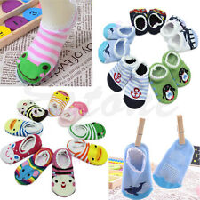 1 Pair Colorful Cute Lace Side Baby Boy Toddler Anti-Slip Socks Shoes Slipper