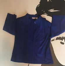 Chico's Womens Royal Blue-Lined, 3/4 Sleeves Open Front Eyelet Jacket Size 1 (M)