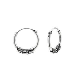 925 Sterling Silver Small Bali Ethnic Sleeper Hoop Earrings (12mm)