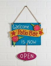 Bar is Open Beach Pool Patio Tiki Bar Sign Wall Plaque NEW ohbewa 12821