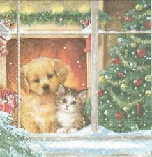 Lot de 2 Serviettes en papier Chien Chat Noël Decoupage Collage Decopatch