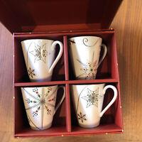 Lenox ~ Merry and Bright Snowflake ~ 4 Mug Set With Box ~ Christmas Holiday