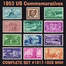 [SOLD] US 1953 Commemorative Year Set = Full Set of 12 MINT VF NH Scott 1017 - 1