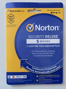 Norton Security Deluxe for 5 Devices Computer PC Antivirus