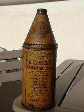 Bidon huile SHELL ancien bouteille 1930 motor oil tin can oldose golden tole