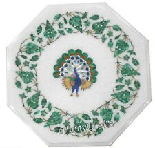 12 Inches Marble Coffee Table Top Peacock  Design End Table Malachite Stone Art