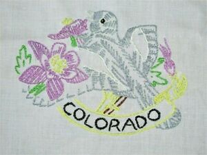 VTG 8X9 HAND EMBROIDERED COLORADO STATE BIRD AND FLOWER COTTON QUILT BLOCK CRAFT