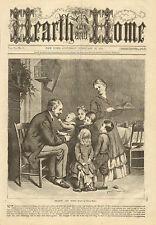 Hearth & Home, Family Scene, Children, w Text, Vintage, 1873 Antique Art Print.