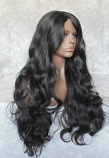 Extra Long Black/Brown Thick Layered Waves, Center Skin Part Full Synthetic Wig