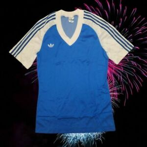 DEADSTOCK 70s NEW BLUE ADIDAS FOOTBALL SHIRT JERESEY TRIKOT MAGLIA SIZE S/M