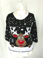 Pull femme Style Vintage Caribou maille crochet Taille: M FR40 US8 UK12 EUR38