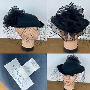 Black Vintage Kangol Design Pretty Pillbox Hat With Net & Ruffle Detail