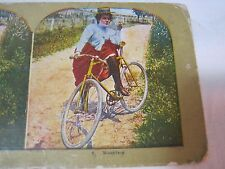 RESTING ANTIQUE BICYCLE STEREOVIEW STEREO CARD     T*