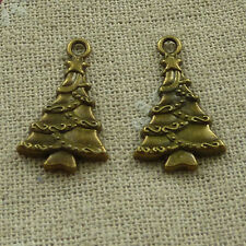 free ship 140 pieces Antique bronze Christmas tree charms 25x15mm #3820