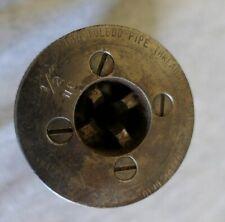 """Toledo 1/2"""" Nc Adjustable Pipe Theading Die Drop Head Ratchet Hand Tool 2 7/8"""" D"""
