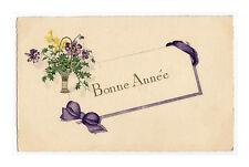CPA illustration HOUX et FLEURS VIOLETTES Bouquet Ruban Bonne Année Postkaarten