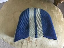 Vintage 1920s 1930's knit wool cap hat ,blue and gray chevron pattern 22''