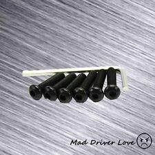 ROUND HEAD STEERING WHEEL HEX SCREW 6PC BOLT 22.7mm KIT W/ ALLEN WRENCH BLACK