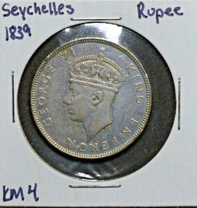 Seychelles, Silver Rupee, 1839, KM 4