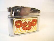 Vintage Sunflower Chrome Red Enamel Flower Automatic Lighter Sparking Well Rare
