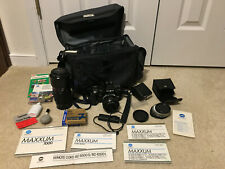 Minolta Maxxum 7000 35mm Slr camera body, lenses, flash, filters, carrying bag