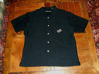 BONGOS Island Music Black Button Front Shirt Size Medium Embroidered Casual M