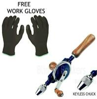 MANUAL HAND HELD DRILL DOUBLE PINION CRANK WOODEN HANDLE KEYLESS CHUCK DRILLING