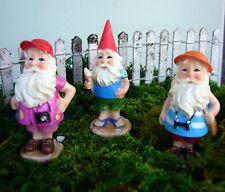 Traveling Gnome set of 3 asst Mi 55780 Miniature Fairy Garden