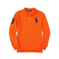 NWT Polo Ralph Lauren Boy's Long Sleeve Big Pony Mesh Polo Shirt, Orange
