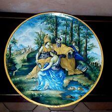 Grand plat en faience , Majolique Italie XIX ème Signé Gaetano Battaglia Napoli