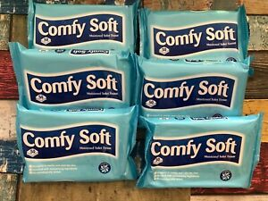 6 X COMFY SOFT BIODEGRABLE & FLUSHABLE TOILET WIPES 300 IN TOTAL
