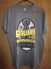 New- Boston Bruins 2011 Stanley Cup Champs Mens L Large Majestic Gray Shirt