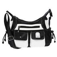 Damen Tasche Handtasche Schultertasche Umhängetasche Schwarz Weiss Handtasche