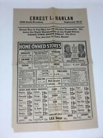 1930's Grocery Store Advertising Poster Wall Ernest L. Harlan Englewood CO Vtg