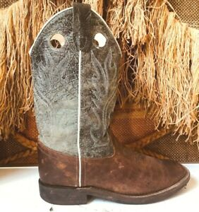 Old West  Youth Boys Gray/Brown Leather Broad Square Toe Cowboy Boots sz 6