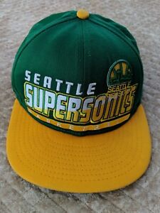 Vintage Seattle Supersonics Genuine NBA Green & Yellow Basketball Snap-back Cap