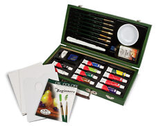 Oil Colour Artist Box Set Paints Tools Brushes & Beginners Guide Book OIL3000