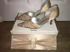Victoria Jayne Champagne Ruffle Satin Diamante Shoes size 6 & Clutch Bag RRP £75