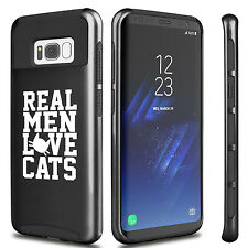 For Samsung S6 S7 Edge S8 + Dual Shockproof Hard Case Cover Real Men Love Cats