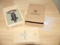 Laguiole Stainless Steel Wine Stopper Wood Accents Box Cone Type Bottle - NEW