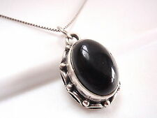 Black Onyx Pendant 925 Sterling Silver Rope Style Decorated Perimeter