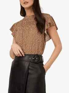 New Ladies Warehouse Mini Fleck Frill Sleeve top Sizes: 8, 10 & 14 RRP £32.00