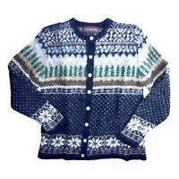 JG Hook Cardigan Medium Shetland Wool Navy Winter Holiday Snowflake Sweater