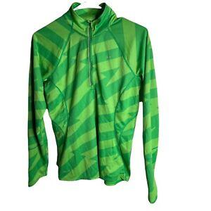 Nike Dri Fit Long Sleeve Running Shirt 1/2 Zip Green Striped Men's M Pullover