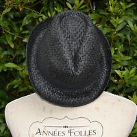 Chapeau Femme noir Borsalino TRILBY vintage taille unique field zaza2cats