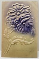 Greetings Heavily Embossed Airbrushed Hibiscus Flowers Vintage Postcard B17