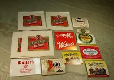 14  Vintage Walter Beer Items Labels Napkins Eau Claire WI Wis Wisconsin Brewing