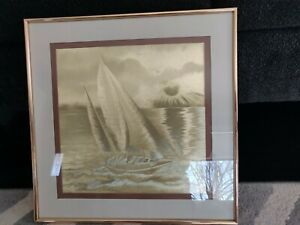 MANIFESTATIONS OPTICAL ILLUSIONARY ART GOLD METALLIC FRAMED DRAWING PRINT 1980'S