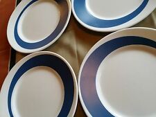 4 RARE   CORELLE MILK GLASS BLUE DINNER PLATES for MID CENTURY DANISH MODERN